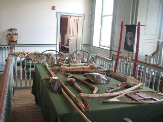 Photo of Dick Gilbert's collection of Native-American-related items