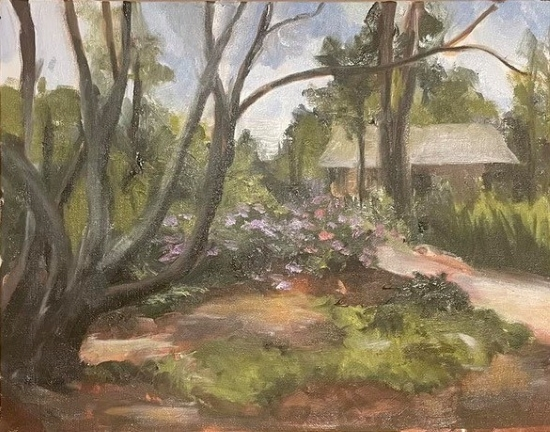 Photo of an oil painting of the Buena Vista Pool House by Joan Supplee
