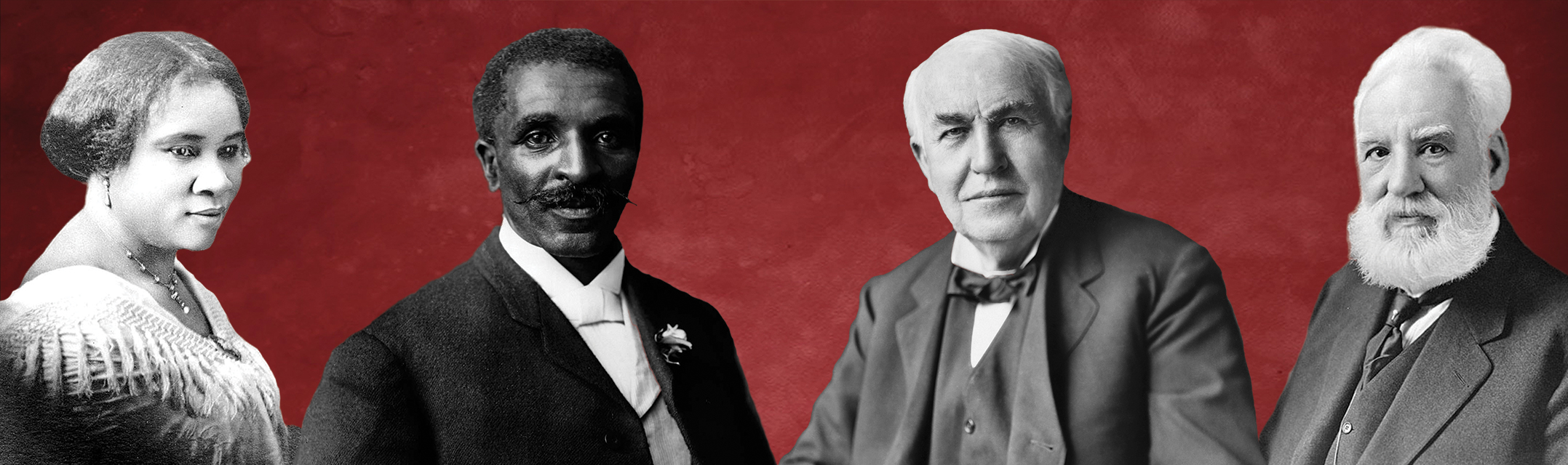 Chautauqua banner featuring images, left to right, of Madame C.J. Walker, George Washington Carver, Thomas Edison and Alexander Graham Bell